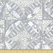 Stonehenge White Christmas Cotton Fabric - Tile - Silver