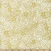 Stonehenge White Christmas Stars Cotton Fabric - Gold 3994M-53