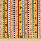 Story Time Rhyme Cotton Fabric - Border Stripe - Multi