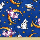 Story Time Rhyme Cotton Fabric - Hey Diddle Diddle - Blue