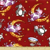 Story Time Rhyme Cotton Fabric - Hey Diddle Diddle - Red