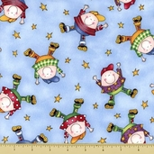 Story Time Rhyme Cotton Fabric - Humpty Dumpty - Blue