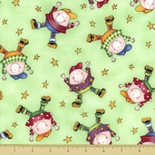 Story Time Rhyme Cotton Fabric - Humpty Dumpty - Green