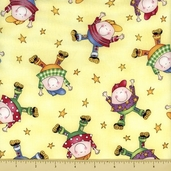 Story Time Rhyme Cotton Fabric - Humpty Dumpty - Yellow