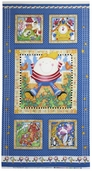 Story Time Rhyme Cotton Fabric - Humpty Panel - Blue