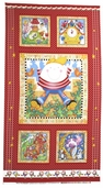 Story Time Rhyme Cotton Fabric - Humpty Panel - Red