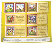 Story Time Rhyme Cotton Fabric - Nursery Panel - Yellow