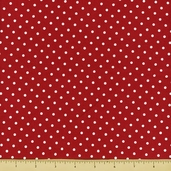 Story Time Rhyme Cotton Fabric - Polka Dot - Red - CLEARANCE