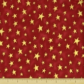 Story Time Rhyme Cotton Fabric - Stars - Red