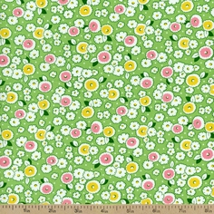 Storybook Playtime Medium Floral Cotton Fabric - Green