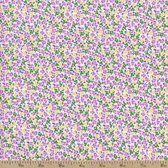 Storybook Playtime Small Floral Cotton Fabric - Purple