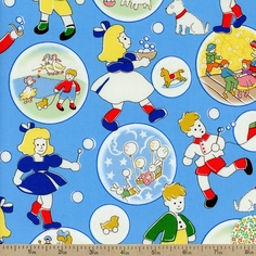 Storybook Playtime Toys Cotton Fabric - Blue