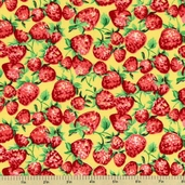 Strawberry Cotton Fabric - Yellow