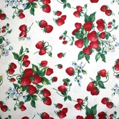 Strawberry Picnic Cotton Fabric - White
