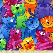Stray Cat Novelty Flannel Fabric - Bright