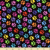 Stray Cat Paw Prints Novelty Flannel Fabric - Black