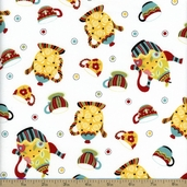 Sugar And Spice Cute Kettles Cotton Fabric - White