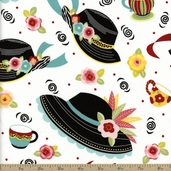 Sugar And Spice Fancy Hat Cotton Fabric - White