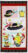 Sugar And Spice Tea Time Panel Cotton Fabric - Black