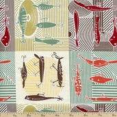 Summer Camp Fish Hooks Cotton Fabric - Gold PWMC031-GOLD