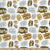 Summer Camp Trailers Cotton Fabric - Taupe PWMC027-TAUPE