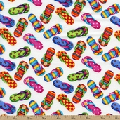 Summer Fun Flip Flops Cotton Fabric - White DEBI-C2495-WHITE