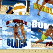 Sun, Surf, Sand Cotton Fabric - Volleyball - Beach