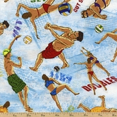 Sun, Surf, Sand Cotton Fabric - Volleyball Toss - Blue WP-80435-442
