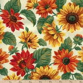 Sunflower Toss Cotton Fabric - Cream/Gold