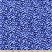 Sunny Blossoms Berries Cotton Fabric - Blue - Clearance
