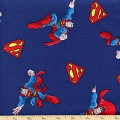 Super Friends Superman Cotton Fabric - Blue WB-0048-1A-4 - Clearance