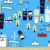 Superhero Cotton Fabric - Aqua Clearance-