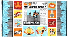 Superhero Newspaper Cotton Fabric Panel - Bright AIB-13230-195 BRIGHT