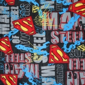 Superman Chains And Steel Fleece Fabric - Black