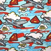 Superman Flannel Fabric - Blue
