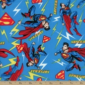 Superman Flashing Lights Cotton Fabric - Blue