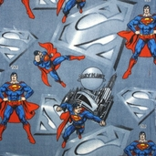 Superman Fleece Fabric - Blue