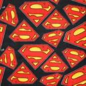 Superman Logo Fleece Fabric - Black