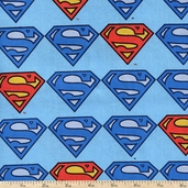 Superman Logo Repeat Cotton Fabric - Blue