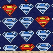 Superman Logo Repeat Flannel Fabric - Navy