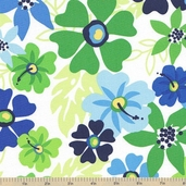 Surf Time Large Floral Cotton Fabric - Ocean
