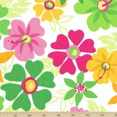 Surf Time Large Floral Cotton Fabric - Summer