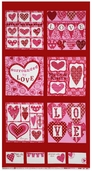Surrounded By Love Candy Heart Panel Cotton Fabric - Red