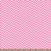Surrounded By Love Small Chevron Cotton Fabric - Pink