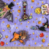 Suzy's Pumpkin Patch Halloween Cotton Fabric - Purple