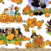 Suzy's Pumpkin Patch Halloween Cotton Fabric - White