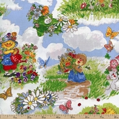 Suzy's Zoo Snails Cotton Fabric - Green
