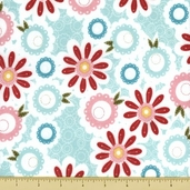 Sweet Divinity Cotton Flannel Fabric - Floral - Blue