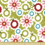 Sweet Divinity Cotton Flannel Fabric - Floral - Green