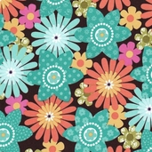 Sweet Flirtations Cotton Fabric - Turquoise - Clearance